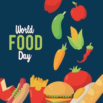 Plakat z napisem światowego dnia żywności z projektem ilustracji pożywnej żywności