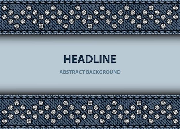 Plakat z niebieskimi dżinsowymi paskami ze szwami i srebrnymi cekinami.