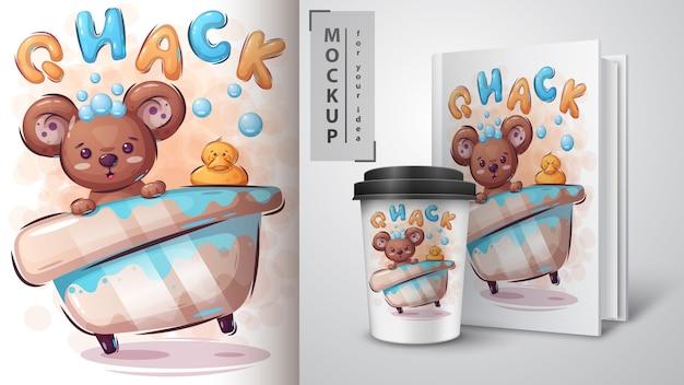 Plakat z niedźwiedziem i kaczką oraz merchandising