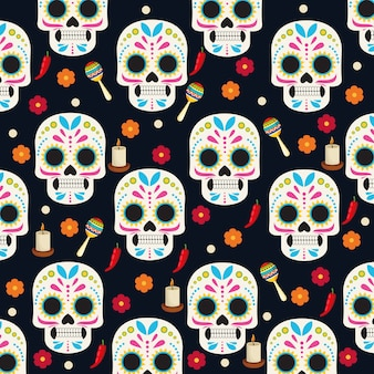 Plakat z okazji dia de los muertos z czaszkami i kwiatami grupy wzór ilustracji wektorowych
