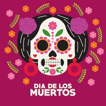 Plakat z okazji dia de los muertos z projektem ilustracji wektorowych głowy catrina