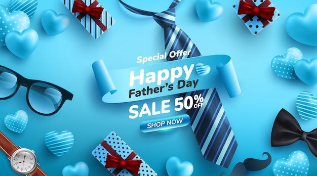 Plakat z okazji dnia ojca z płaskimi okularami, krawatem, zegarkiem i prezentami dla taty.