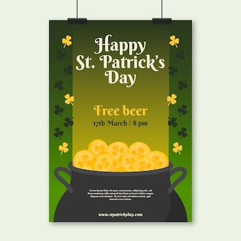 Plakat z okazji dnia świętego patryka z bezpłatnym piwem i monetami