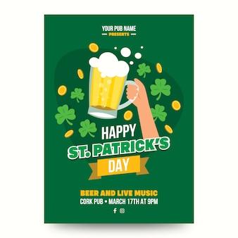 Plakat z okazji dnia świętego patryka z łykiem piwa