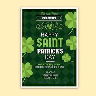 Plakat z okazji dnia świętego patryka z zielonymi koniczynami