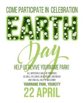Plakat z okazji dnia ziemi. napis trawa dzień ziemi