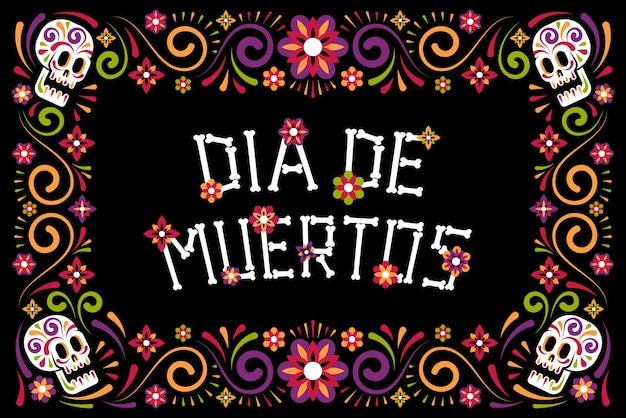 Plakat z okazji dnia zmarłych z cukrową czaszką i kwiatami dia de los muertos
