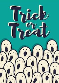 Plakat z okazji halloween lub pocztówka z przerażającymi okropnymi duchami