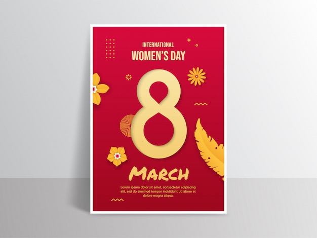 Plakat z okazji międzynarodowego dnia kobiet w stylu wycinanki