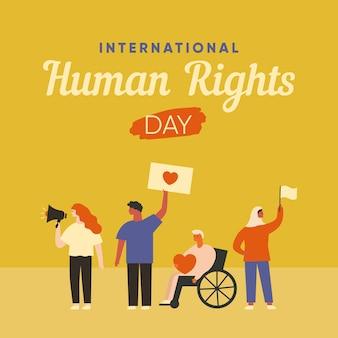 Plakat z okazji międzynarodowego dnia praw człowieka. ludzie stojący razem z flagą, sztandarem, megafonem. pojęcie różnorodności.