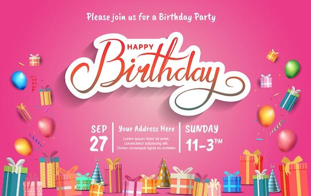 Plakat z okazji urodzin na przyjęcie