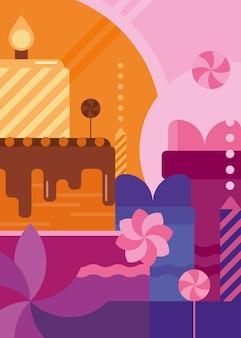 Plakat z okazji urodzin z ciastem i słodyczami. projekt pocztówki wakacje w stylu płaski.