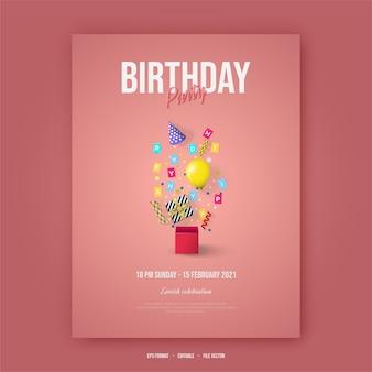 Plakat z okazji urodzin z ilustracją materiałów urodzinowych na różowym tle.