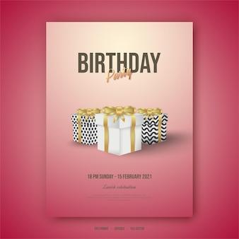 Plakat z okazji urodzin ze stojakiem na prezent.