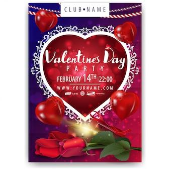 Plakat z okazji walentynek z kwiatami