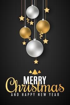 Plakat z okazji wesołych świąt i szczęśliwego nowego roku.