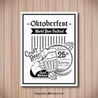 Plakat z oktoberfest z zabytkowym stylem