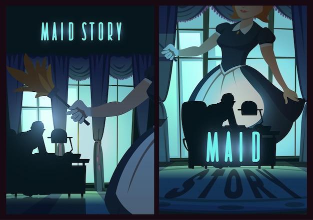 Plakat z opowiadaniem pokojówki z kobietą w fartuchu w ciemnym pokoju