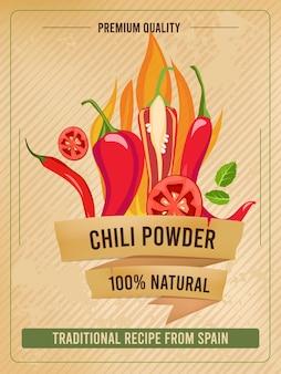 Plakat z ostrą papryką. tradycyjne dania kuchni meksykańskiej przyprawione papryczką chili vintage menu restauracji lub szablon afisz.