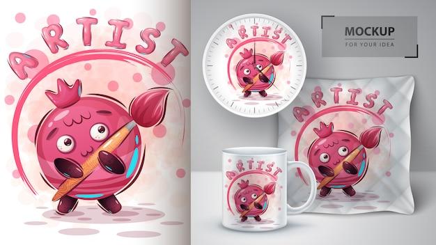 Plakat z owocami artysty i merchandising