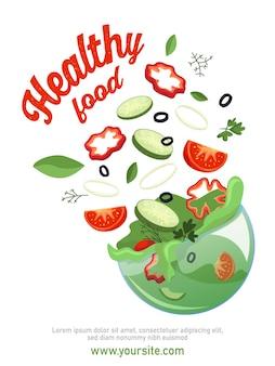 Plakat z plastrami warzyw z płaską papryką, ogórkiem i ziołami