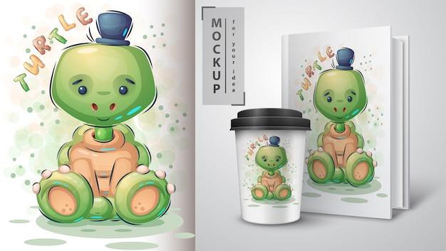 Plakat z pluszowym żółwiem i merchandising
