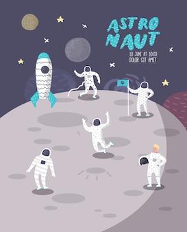 Plakat z postaciami astronautów, baner z gwiazdami i rakietą. kosmonauta w kosmosie i statku kosmicznym.
