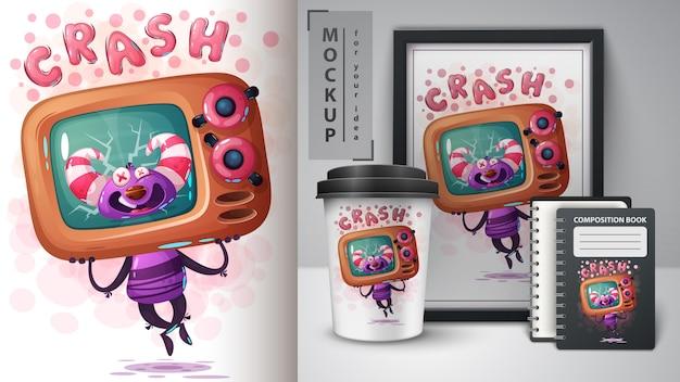 Plakat z potworem telewizyjnym i merchandising