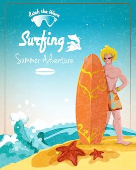 Plakat z przygodami z surfingu