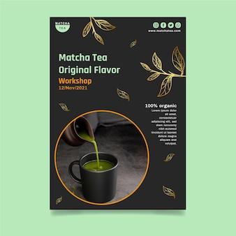Plakat z pyszną herbatą matcha