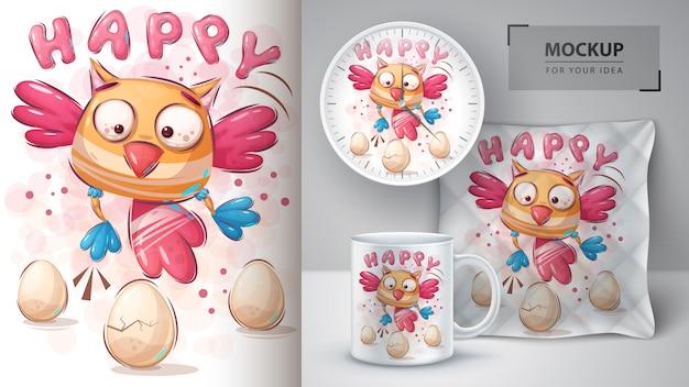 Plakat z radosnym ptaszkiem i merchandising