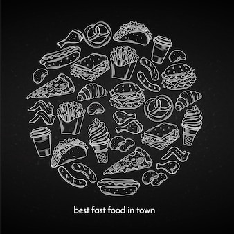 Plakat z ręcznie rysowane fast food