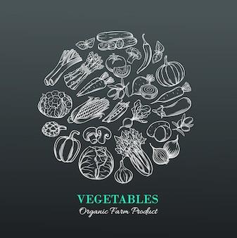 Plakat z ręcznie rysowane warzywa