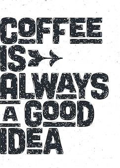 Plakat z ręcznie rysowanym napisem coffee
