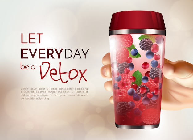 Plakat z ręką trzymającą butelkę detox