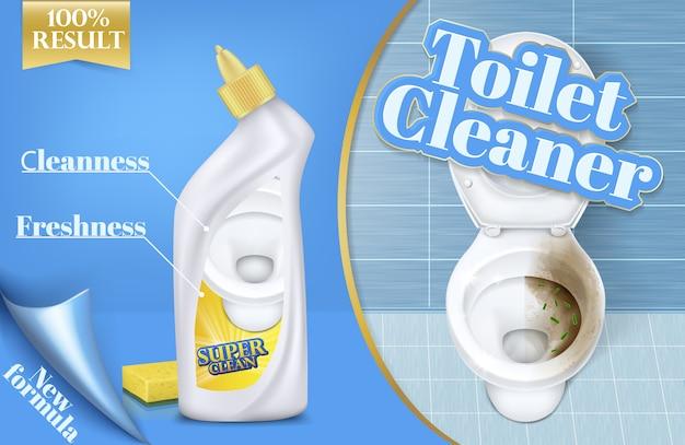 Plakat z reklamami do czyszczenia toalet, przed i po działaniu detergentu