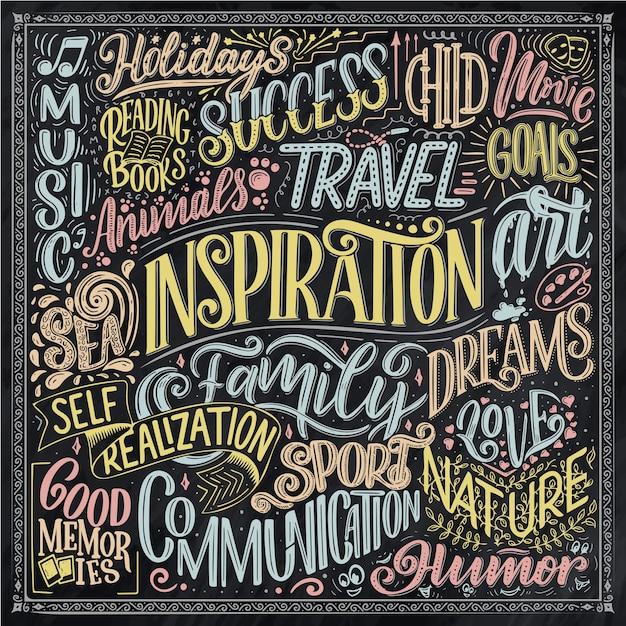 Plakat z różnymi rodzajami inspiracji. inspirujące słowa. ręcznie rysowane vintage ilustracji z odręcznym napisem i elementami dekoracji.