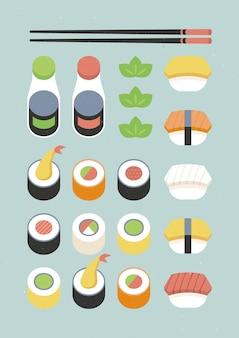 Plakat z różnymi sushi