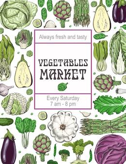 Plakat z różnymi warzywami