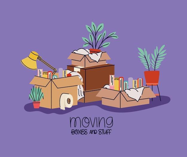Plakat z ruchomymi pudełkami