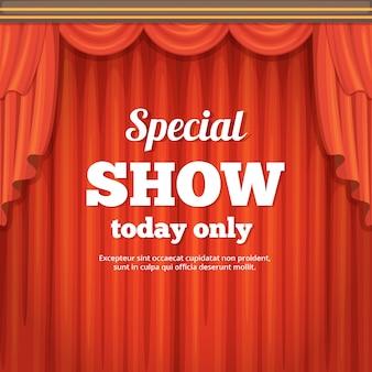 Plakat z sceną teatralną i czerwoną zasłoną. ilustracja kreskówka stylu