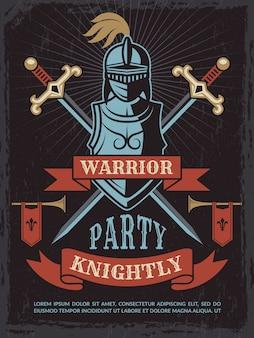 Plakat z średniowiecznym hełmem wojownika i mieczami