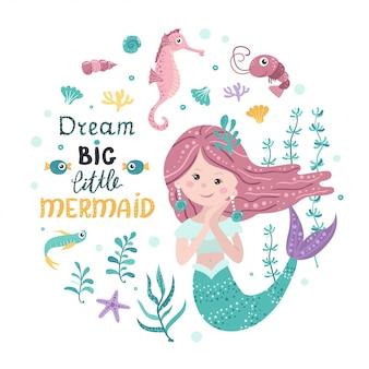Plakat z syreną, zwierzętami morskimi i napisem