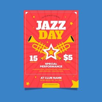 Plakat z szablonem międzynarodowego dnia jazzu