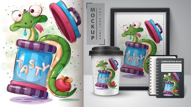 Plakat z szalonym wężem i merchandising
