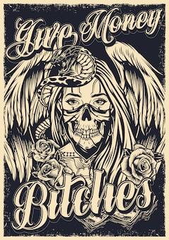 Plakat z tatuażem chicano