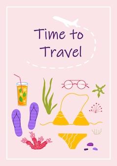 Plakat z tekstem czas na podróże i inne rzeczy dla turystyki przygodowej. podróż dekoracyjny projekt z bikini, ubraniami, akcesoriami, butami. płaskie kreskówka nowoczesny wektor.