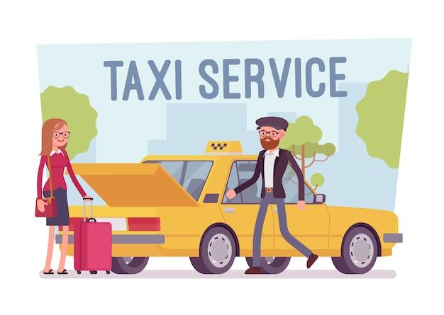 Plakat z usługami taksówek