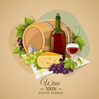 Plakat z winem i serem