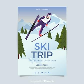 Plakat z wyjazdem na skok narciarski